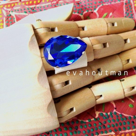 #blue #crystal with #white #syntheticleather #ring #diy #craft #handmade