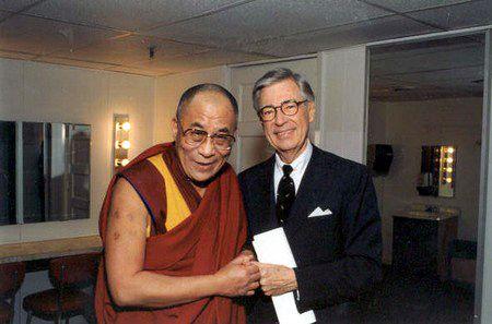 Different worlds. Twin souls. Dalai Lama & Mr. Rogers fist bumping, epic