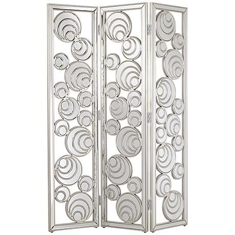 lina silver leaf mirrored 3piece room divider screen