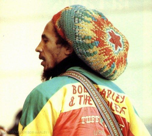 """crochet hat made by Dina Knapp for Bob Marley.  Dina says, 'Bob wore it regularly the last few years of his life. A few years later a filmmaker at Bob's open casket funeral saw that he was wearing it. That might be the biggest """"wow"""" moment of my life.'"""