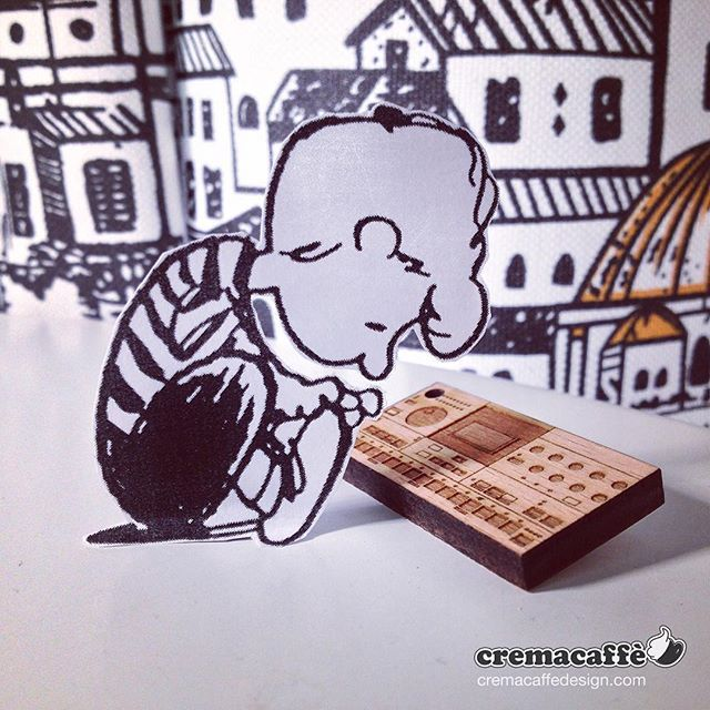 """Our """"chocs"""" are back in store!  http://cremacaffedesign.com/keychains-miniatures/  #cremacaffedesign #keychain #wooden #miniature #synth #keyring #machinedrum #schroeder #peanuts"""