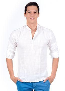 İnce Yazlık Beyaz Hakim Yaka Yeni Sezon Erkek Gömlek