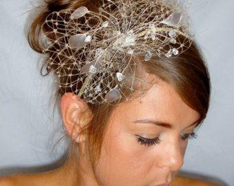 Cream hat 1950s hat veiled hat wedding hat by themakingboutique