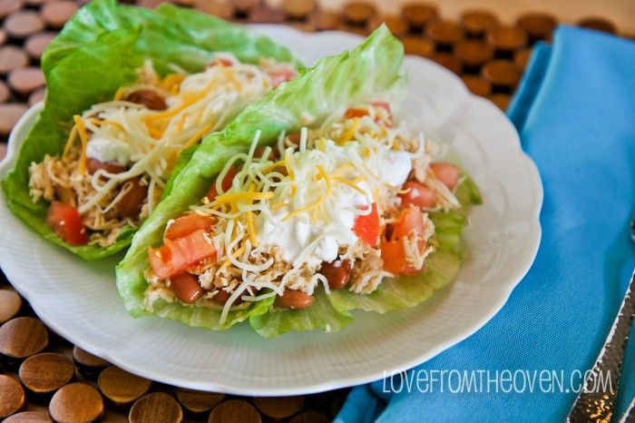 Slow Cooker Chicken Tacos... I like the alternative to the flour shells. This is more like a lettuce wrap.