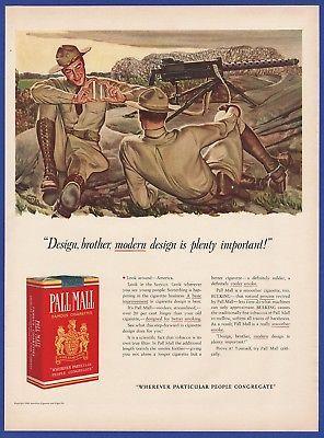 Vintage 1941 PALL MALL Cigarettes WWII Soldier 1940's Decor Art Deco Print Ad