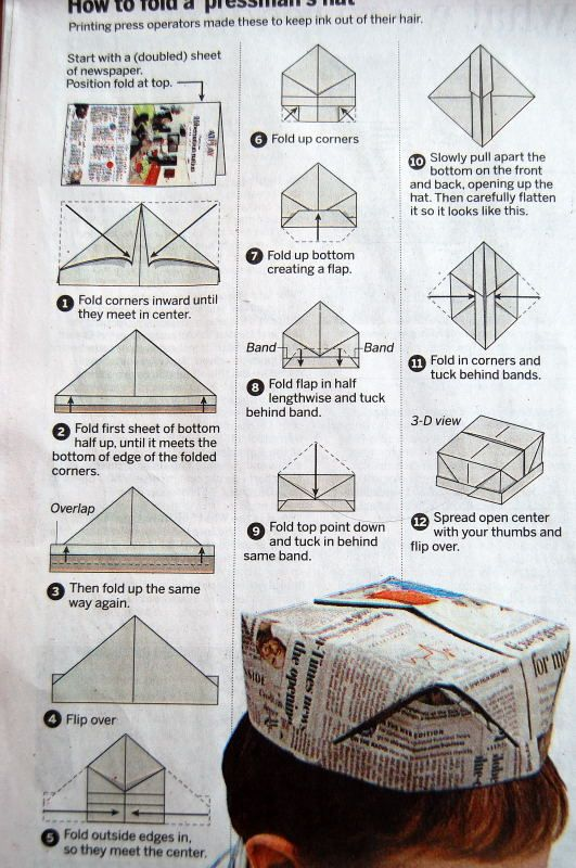 The instructions to fold a Pressman's hat were in our Sunday Chicago Tribune. I hope you can read this; I am too lazy to redo it with my own photos. If you kids are older, this may be a fun...