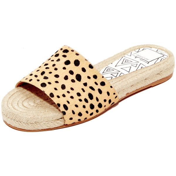 Dolce Vita Vonn Espadrille Slides ($100) ❤ liked on Polyvore featuring shoes, sandals, leopard, leopard print espadrilles, leopard espadrilles, cheetah sandals, slide sandals and cheetah print sandals