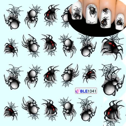1 Sheet Halloween style Spider Water Transfer Nail Art Stickers Manicure Decoration Nails Wraps Decals Styling Tools BLE1341