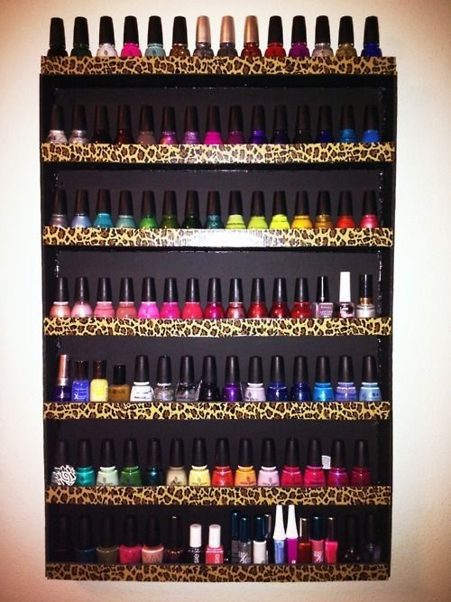 make your own nail rack using foam boards, hot glue and duct tape ? i want