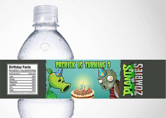 Plants VS Zombies Water Bottle Label by cutiesparties.com $3.50