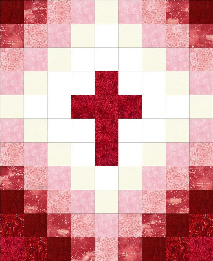Cross Christian Red Pre Cut Quilt Kit Beautiful Baby