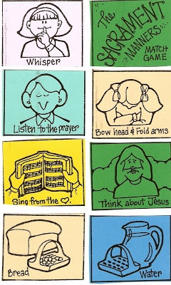 LDS Nursery Color Pages: 40 - The Sacrament Helps Me Think About Jesus - Matching game!