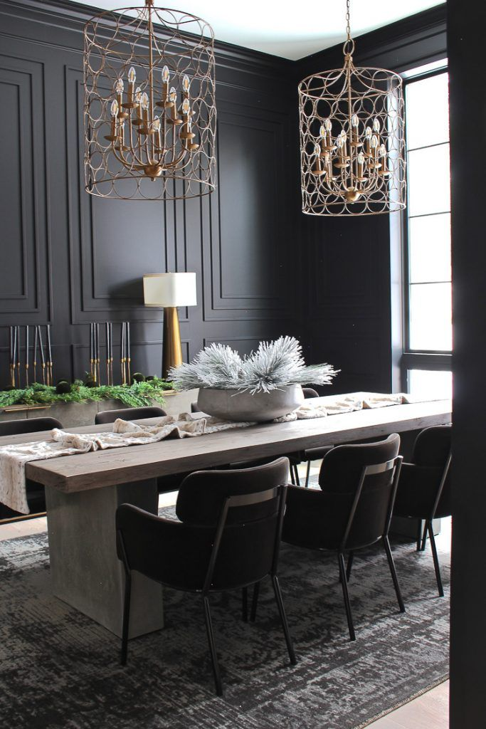 The Forest Modern Grand Finale Christmas Home Tour 2018 The House Of Silver Lining Dining Room Decor Modern Black Dining Room Dining Room Colors