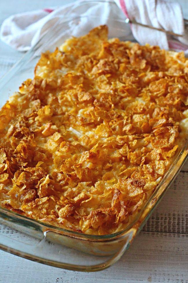 Grandpa Johnson S Cheesy Potato Casserole With Corn Flakes Recipe Cheesy Potato Casserole Hashbrown Recipes Potato Casserole