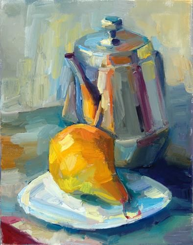 """A pear and a teapot"" - Original Fine Art for Sale - © Lena Levin  I really like this still life. Hope mine is the winning bid!"