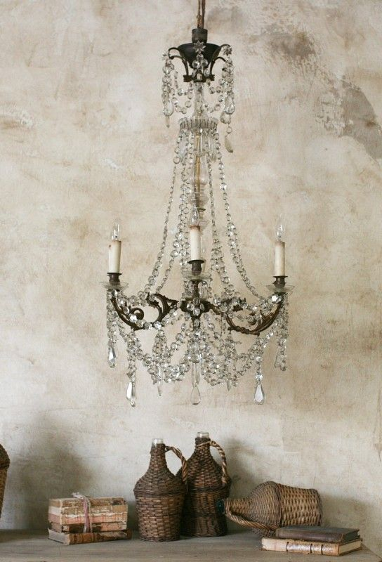 Exquisite Antique European Brass Chandelier Six Ar