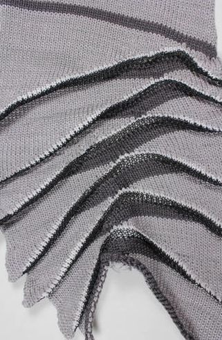 Knit + Pleat to create two-tone textures - structural fabric manipulation; knitting sample; textiles design
