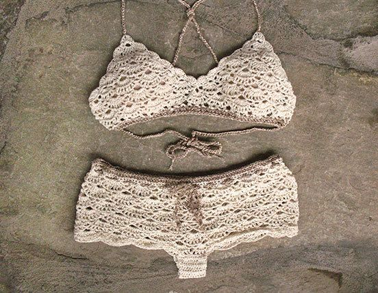 Crochet bralette and crochet shorts in cream Bridal by MarryG                                                                                                                                                     More