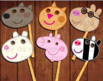 Peppa Pig Party Photo Booth Props-2 Peppa Pig by IraJoJoBowtique
