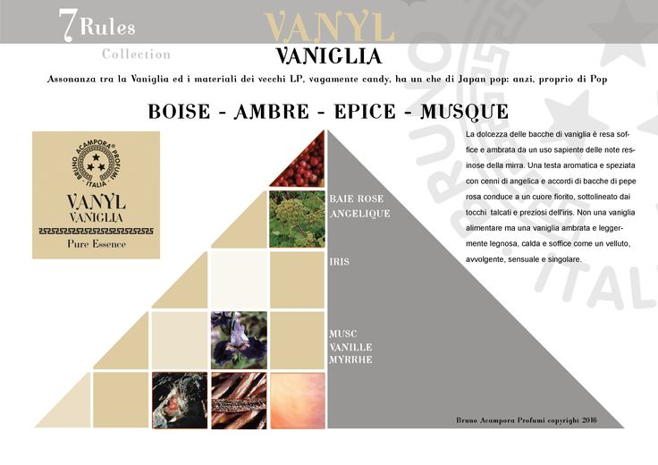 Vanyl - Pyramid  #newcollectione #7rules #pyramids #piramidi #olfactorypyramid #vanyl #brunoacamporaprofumi #brunoacampora