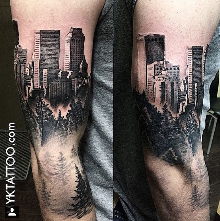 city line and forest tattoo - Google Search