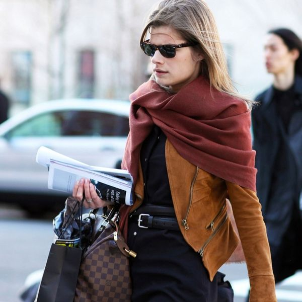 Suede jacket and burgundy scarf