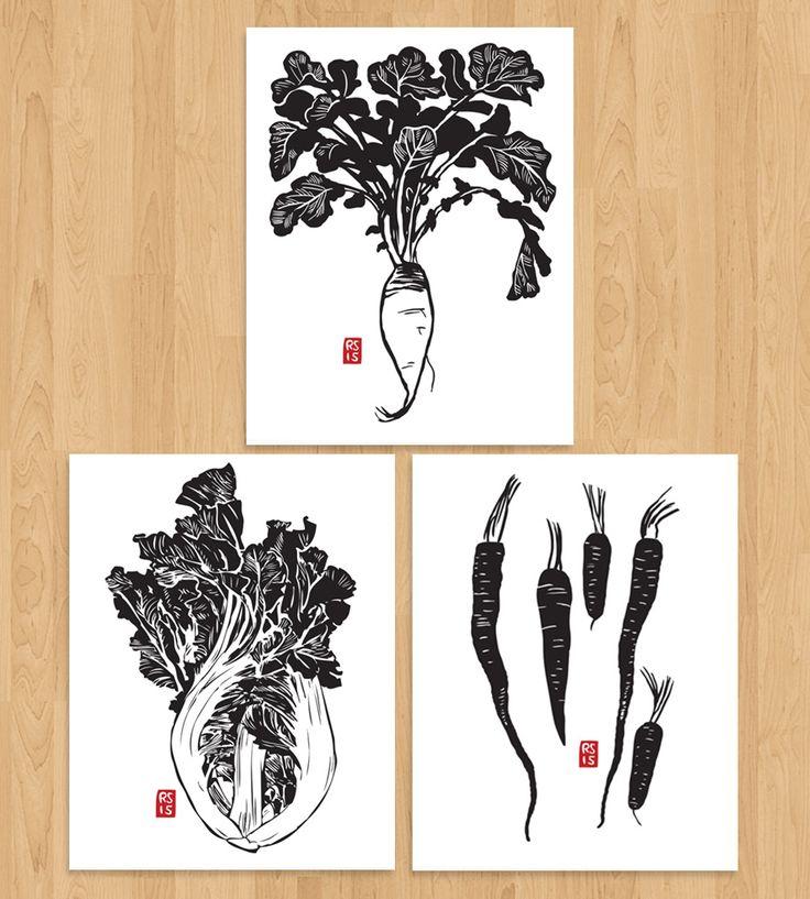 Letterpress Asian Vegetable Art Print Set, No. 1 by Rigel Stuhmiller on Scoutmob Shoppe