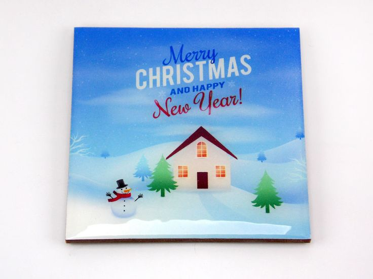 Merry Christmas Snowman Trees House Drink Coaster Unique Gift MDF Wood by Osarix