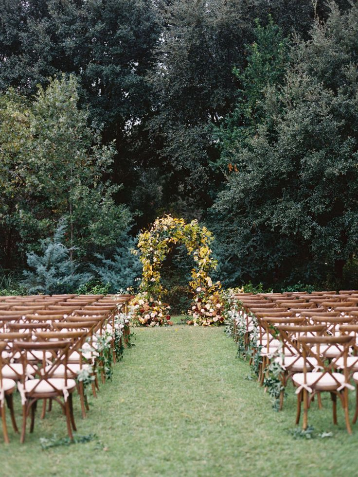 Fall wedding arch at Clark Gardens in
