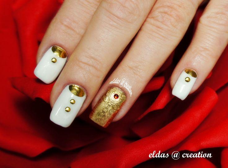 French manicure : bianco e oro metallizzato