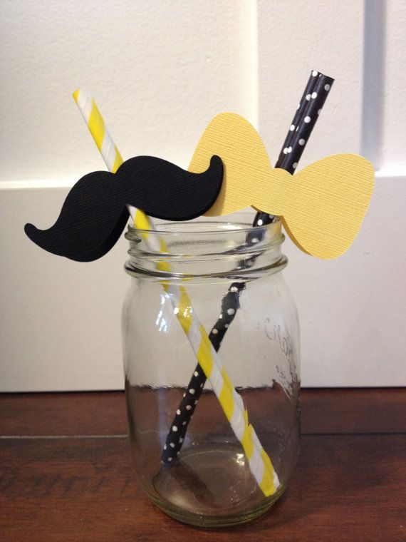 Perfect for a What Will It BEE? Gender Reveal Shower  These super cute paper straws come in a set of 16- (8) Black Moustaches on yellow