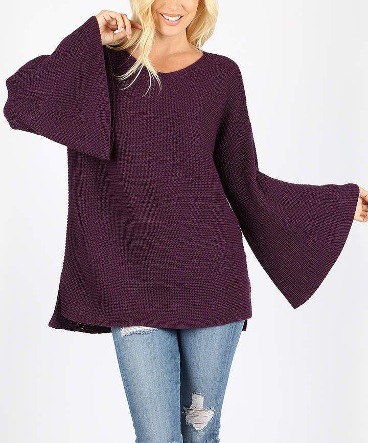 a256bd89b10fc Dark Plum Bell-Sleeve Pullover Sweater - Women  soft pullover blustery