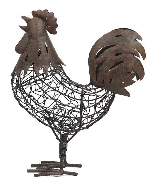 Iron Rooster Figurine Hen Enrooster Decorroostersironsgarden