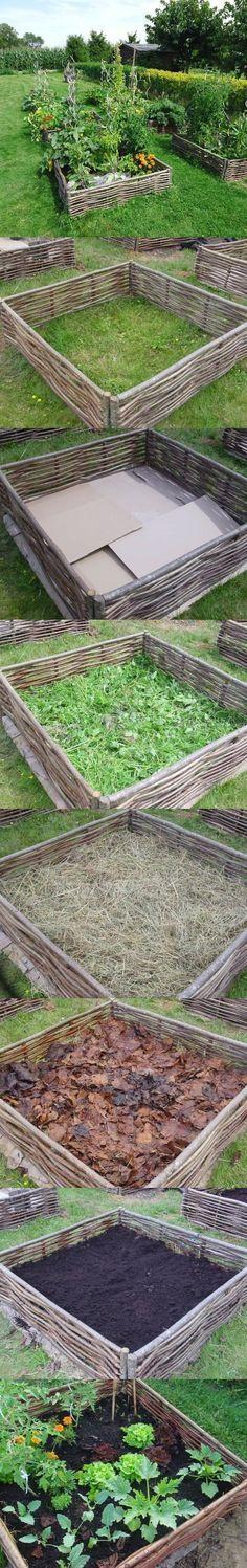 Lasagna gardening-- wattle beds. I like a slightly messier wattle.