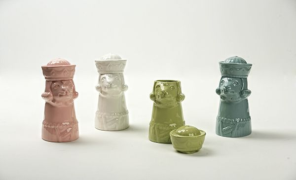 Llama Canister (2013) 80x96x183mm Super-white Clay Slip Casting