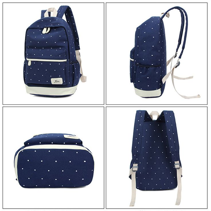 WILIAMGANU 3Pcs Korean Casual Women Backpacks Canvas Book Bags Preppy Style School Back Bags for Teenage Girls Composite Mochila
