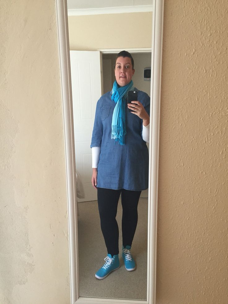 Blue Saterday: Black tights with denim shirt dress and whit long sleeve T-shirt. Accessories- bright blue sneakers and blue scarf