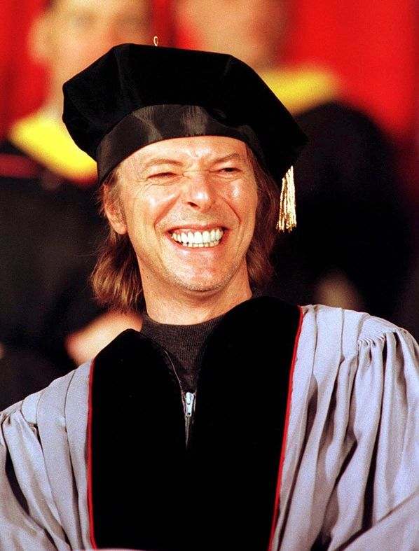 May 8th 1999. Commencement speech at the Berklee College of Music. David Bowie was awarded an honorary doctorate by the Berklee College of Music in Boston, Massachusetts.