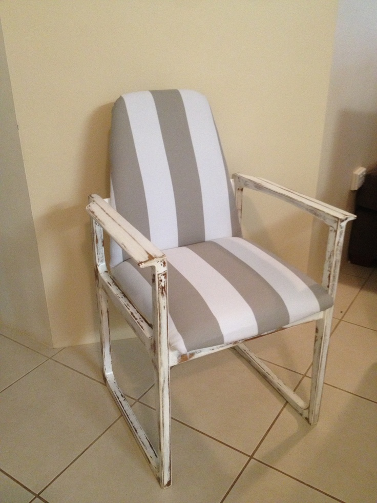 Vintage White & Grey Pinstripe Dining Chair