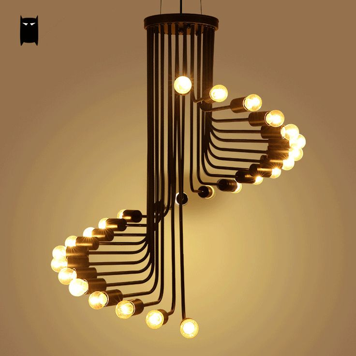 Black Iron Spiral Pendant Light Fixture Retro Industrial Ceiling Lamp Chandelier Soleilchat
