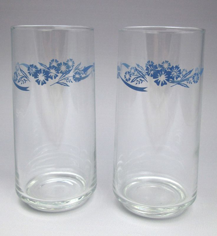 Pair Corning Ware Cornflower Glass Tumblers Drinking