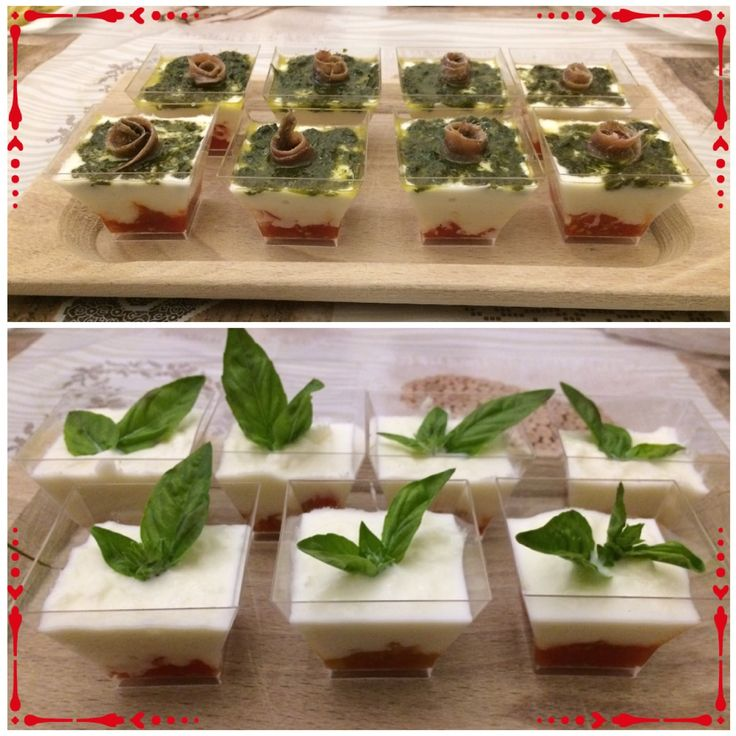 "Modern ""caprese"" with chopped cherry tomatoes, buffalo mozzarella mousse and fresh basil or basil pesto"