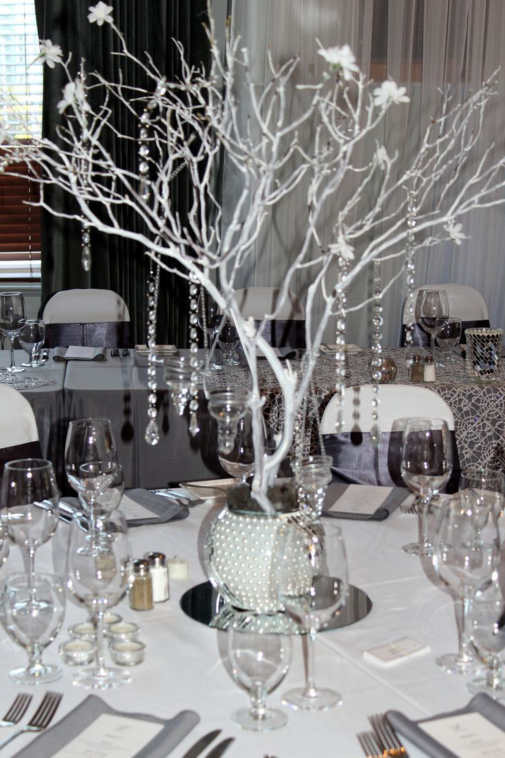 Manzanita centerpiece  Grey Silver White wedding theme