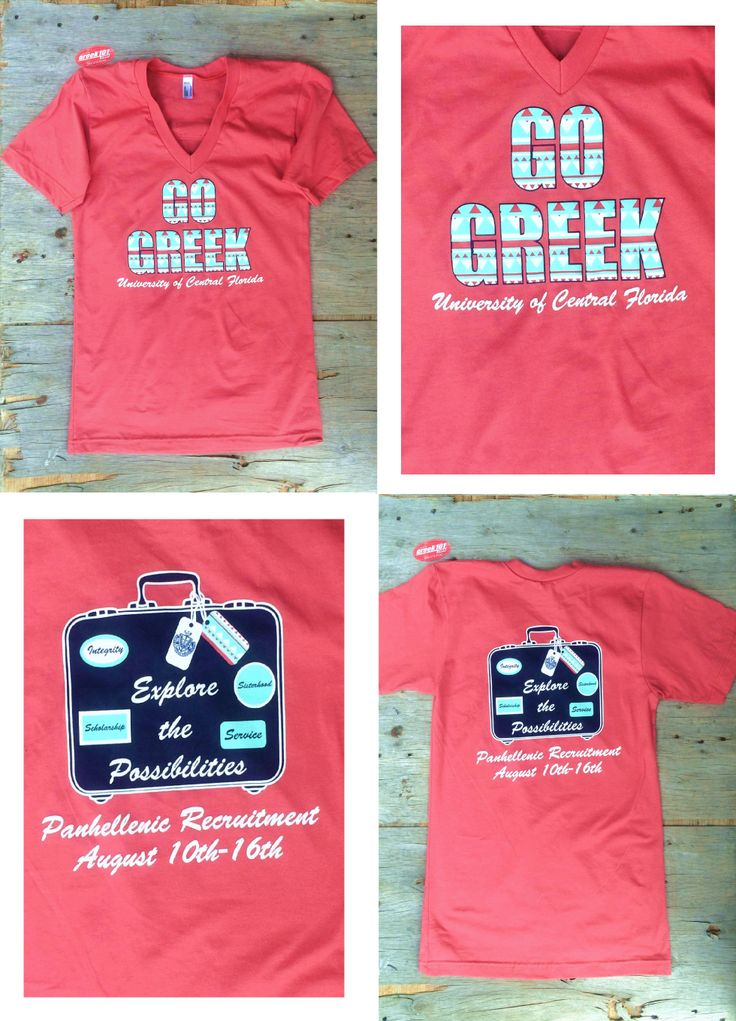 Panhellenic Sorority Recruitment Suitcase Travel theme. 2014 Aztec Coral American Apparel V-Neck Greek101.com 888-473-3550 inquiry@greek101.com