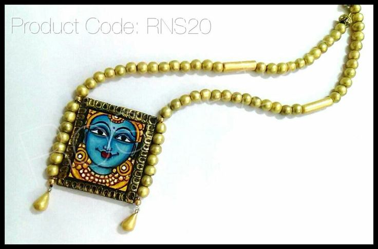 Kerala mural air dry terracotta clay necklace from Ros petals. Kerala mural jewellery