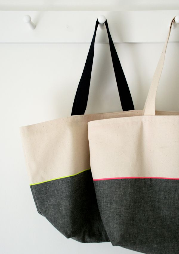 The Purl Bee | neutral + neon tote