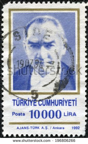 TURKEY - CIRCA 1992: A stamp printed in Turkey shows Mustafa Kemal Ataturk, circa 1992 - stock photo