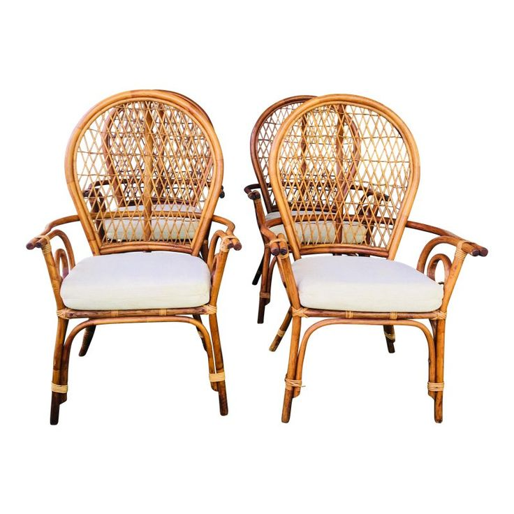 Mid Century Modern Fan Back Rattan Dining Chairs Set Of