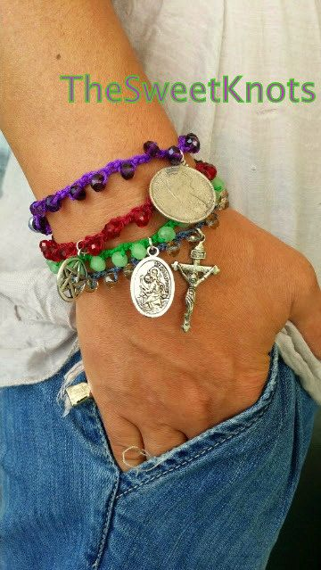 Crochet bracelets with swarovski  pendant by TheSweetKnots on Etsy, $16.00