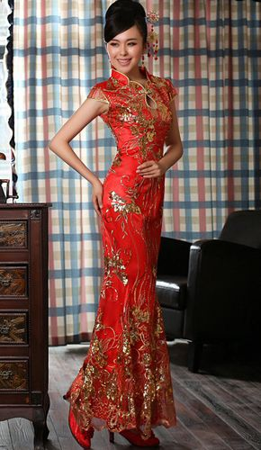 Superb Chinese Qipao Cheongsam Wedding Dress